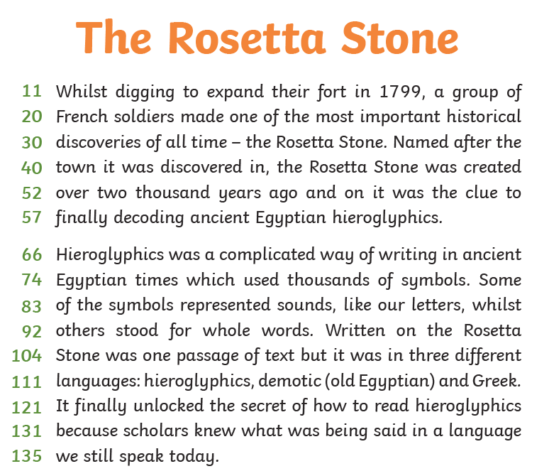 Reading text Rossetta Stone(1)